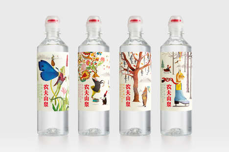 Illustrated Mineral Water Branding - Nongfu Spring Mineral Water Features Fairytale-Themed Labels