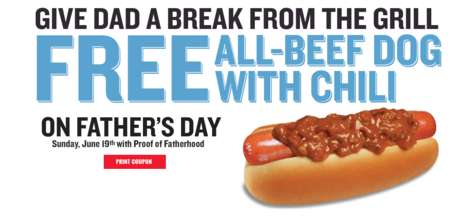 Fatherly Hot Dog Giveaways - This Father's Day Promotion Rewards Hungry Dads with a Free Chili Dog