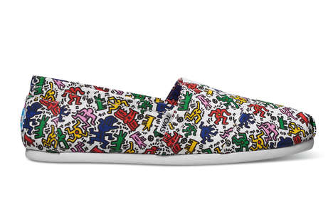 Famous Graffiti Shoes - TOMS Joined with the Keith Haring Foundation for a Series of Graffiti Shoes