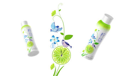 Spring-Themed Beverage Branding - This LEMONUP Bottle Branding Features Bird and Flower Imagery