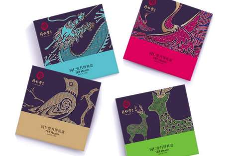 Celebratory Dessert Packaging - These TRT Health Moon Cake Boxes Feature Symbols of Luck and Fortune