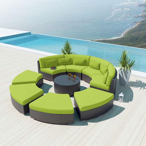 Rotunda-Inspired Furniture - The Mondavi by Uduka 9-Piece Outdoor Sectional Sofa is Stylish