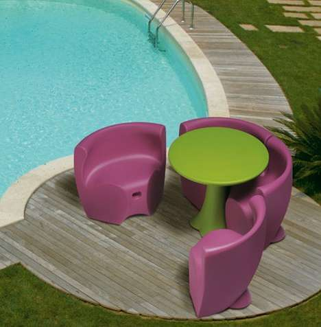 Connectable Plastic Outdoor Furniture - The MyYour 'Community' Table and Chairs are Chunky Yet Chic