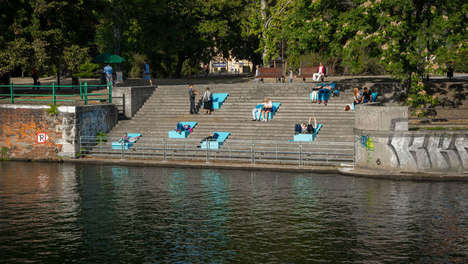 Temporary Seating Installations - Polish Designers Create Comfortable Seating To View a Riverside