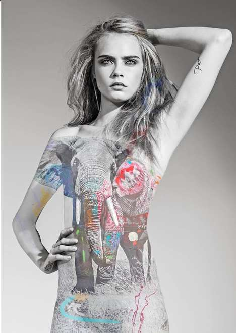 Celebrity Anti-Poaching Campaigns - Cara Delevingne Modeled Painted Photography for Animal Rights