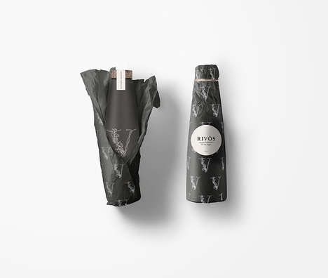 Wrapped Oil Bottle Packaging - The Rivōs Olive Oil Packaging Delights with a Present-Like Design