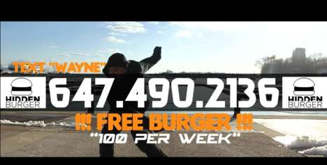 Text-Based Burger Campaigns - Hidden Burger is Giving Free Burgers to Those Who Text a Number