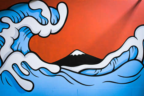 Iconic Art Graffiti Renditions - Aaron Kai Created a Wavy Mural for 'The Hundreds' Warehouse