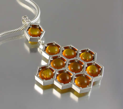 Hexagonal Honeycomb Jewelry - The Winged Lion Wearables Honor the Endangered Bee Species