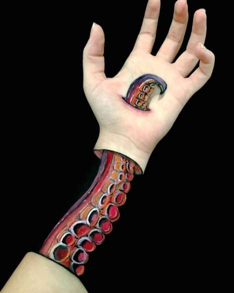 Illusory Body Artwork - The Artist Lisha Simpson Transforms Her Arm with Body Paint