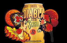 Latin Imagery Sangria Packaging - The Diabla Red Sangria is Emblazoned with Cultural Imagery