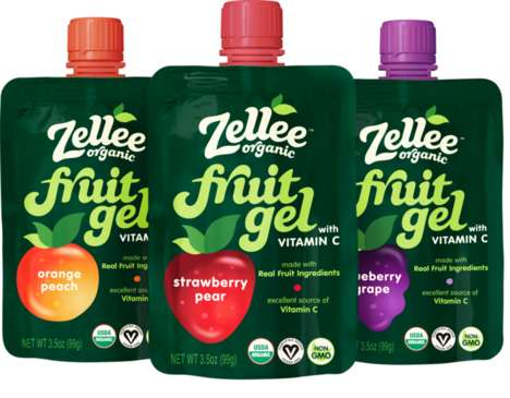 Fruit Gel Pouches - Zellee Organic's Fruit Gel for Kids is Enriched with Vitamin C