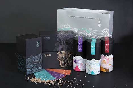 Ethereal Asian Rice Branding - The xiaotuanyuan Rice Packaging Features Hand-Drawn Artistry