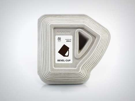 Low-Cost Eco Cup Packaging - The Bevel Cup Packaging Encapsulates the Angles of the Product