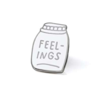Upfront Emotive Pins - The 'Bottled Up Feelings' Broach Conveys the Wearer's Inability to Express