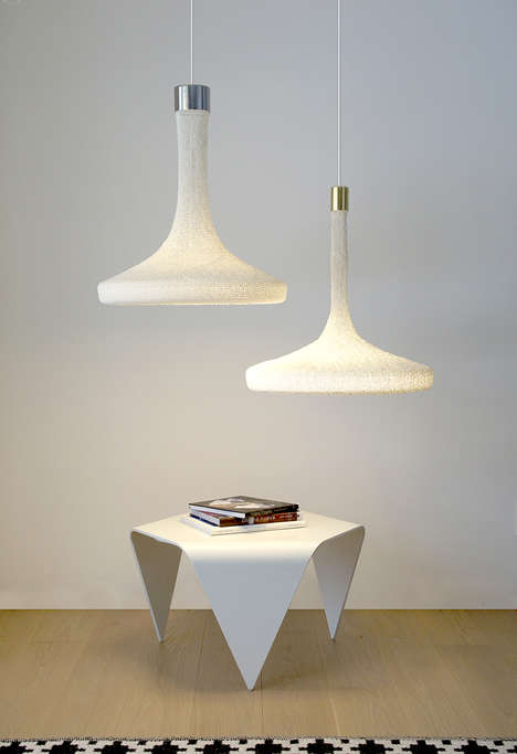 Hand-Knitted Lamp Shades - These Handmade Lamps are Made from Paper Yarn and LED Lights