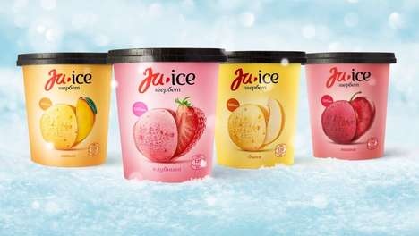 Natural Iced Dessert Packaging - The Ju-Ice Ice Cream Fruit Sorbet Blends Unexpected Ingredients