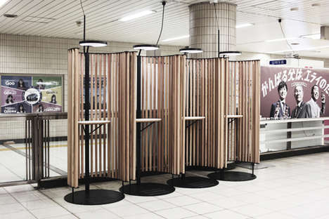 Wooden Subway Workstations - The Tokyo Metro is Offering Subterranean Offices for Commuter Use
