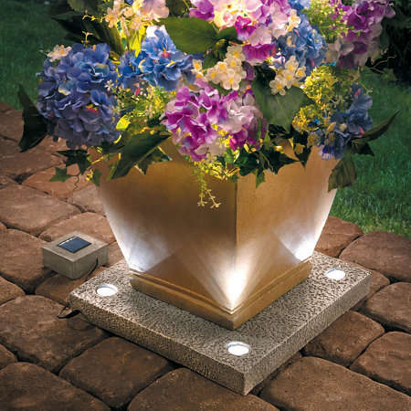 Eco Illuminated Planter Stands - The Solar Light Up Planter Base Puts Plant Life on Display