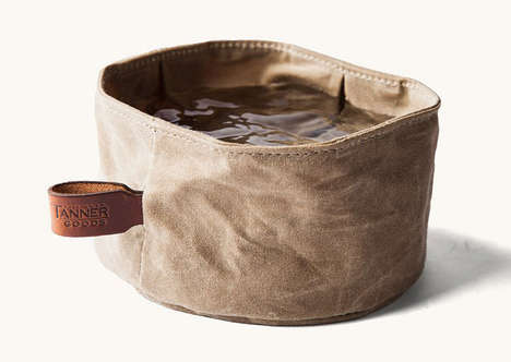 Portable Rugged Dog Bowls - The Tanner Goods Collapsible Waxed Canvas Bowl is for Food or Water
