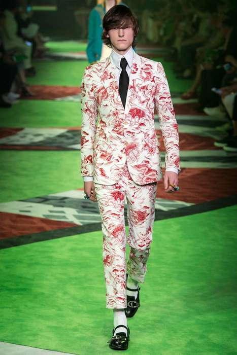 Whimsical Men's Couture - Bright Colors and Imaginative Cuts Overrode the Men's Gucci Fashion Show