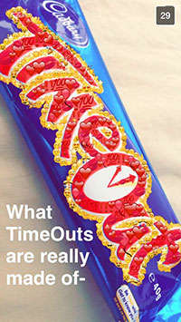 Social Media Candy Campaigns - Cadbury Launched a Creative Snapchat Campaign for Its TimeOut Bar