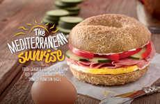 Mediterranean Bagel Menus - Bruegger's Bagels' New Summer Menu Features Mediterranean Ingredients