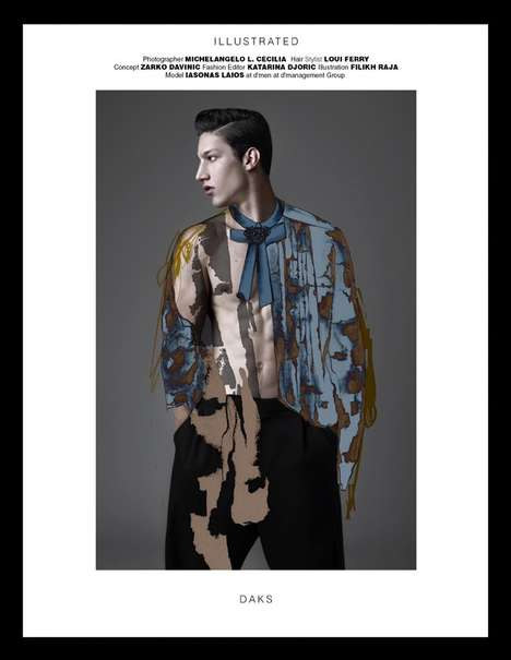 Collaged Menswear Portraits - MMSCENE Magazine's 'Illustrated' Fashion Story Boasts Artistic Filters