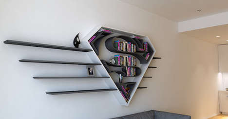 Superhero Logo Bookcases - Burak Doğan Made a Series of Shelves Modeled After Iconic Hero Logos