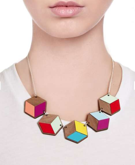 Whimsical Cube Necklaces - Tatty Devine's Geometric Jewelry Piece Consists of Colorful Fragments