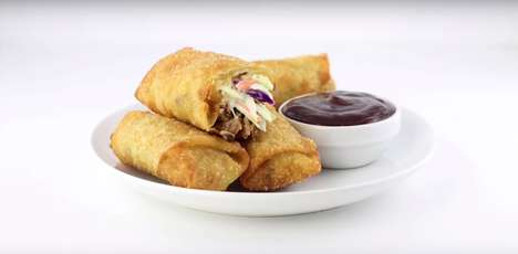 Leftover BBQ Egg Rolls - These Homemade Egg Rolls From DudeFoods Contain Rib Meat and Coleslaw