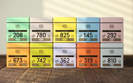 Numerical Tea Branding - The Jaf Tea Packaging Marries Stylistic Text With Bold Numbers