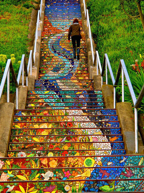 Reflective Tiled Steps - This Mosaic Tile Project Brightens Up a San Francisco Staircase