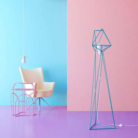 Geometric Floor Lamps - These Wire Lamps Make a Quirky Statement in the Home