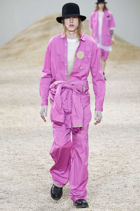 Eclectic Fuchsia Streetwear - Sacai's Fuchsia Fashions Marry Edgy and Romantic Elements