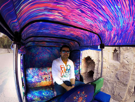 Artist-Inspired Rickshaws - This Taxi Cab Features a Technicolor Interior Influenced by Van Gogh