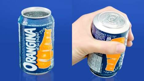 Upside-Down Drink Cans - Orangina's 'Upside-Down Can' Forces Consumer to Shake the Pulp Inside