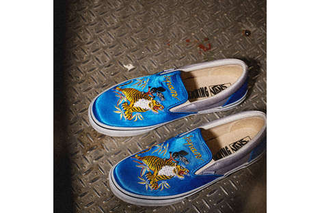 Satin Slip-On Shoes - Vans Japan Released a Lookbook That Includes Beautifully Embroidered Designs