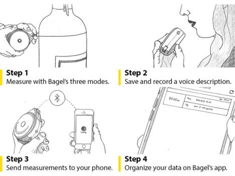 Smart Measuring Tapes - The Bagel is a Measuring Tape with an App, Voice Recorder and Much More