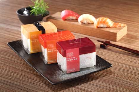 Modular Sushi Loofahs - The FINDAY Hand Towels are Packaged as Pieces of Sashimi Sushi