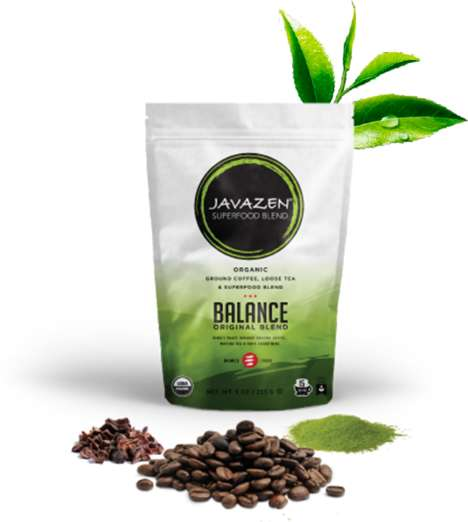 Tea-Infused Coffee Blends - The Javazen Balance Blend is Enhanced with Nutrient-Dense Super Foods