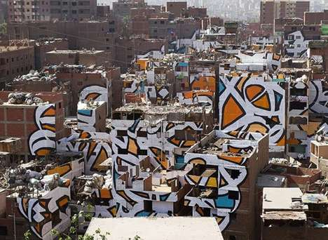 Perspective-Dependent Street Art - 'Calligraffiti' Freshens Up Cairo's Messiest Community