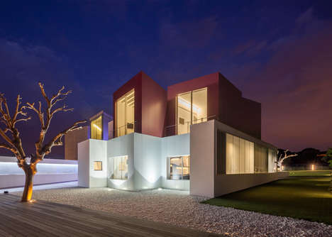 Cubic Modern Home Protrusions - Multiple Blocks Make Up This Modern Madrid Residence
