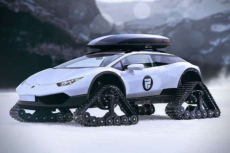 Hyrbrid Sports Car Snowmobiles - The Lamborghini Huracan Snowmobile is a High-End Snow-Groomer