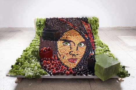 Anamorphic Food Portraits - These Artists Recreate Famous Photos With Plates of Food