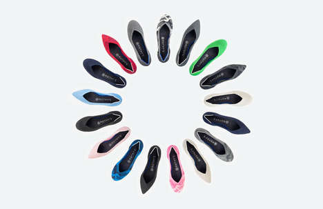 Knitted Plastic Footwear - The Technicolor Rothy Flats are Constructed Using Recycled Water Bottles