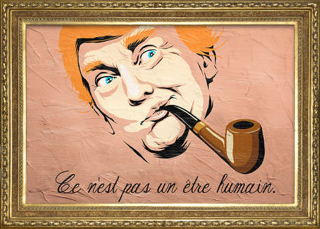 Politically Surreal Street Art - 'Trump X Magritte' Mixes the Politician into the Surrealist's Ouvre