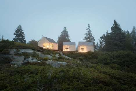 Minimalist Guest Cabins - These Small Guest Houses are Arranged in Groups of Three