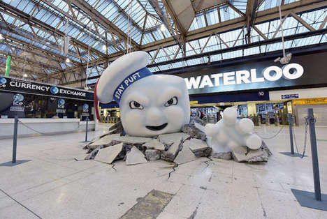Cinematic Marshmallow Train Stations - The Stay Puft Marshmallow Man Reeks Havoc on Waterloo Station