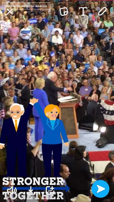 Political Cartoon Geofilters - The New Snapchat Hillary Geofilter Features Clinton and Sanders